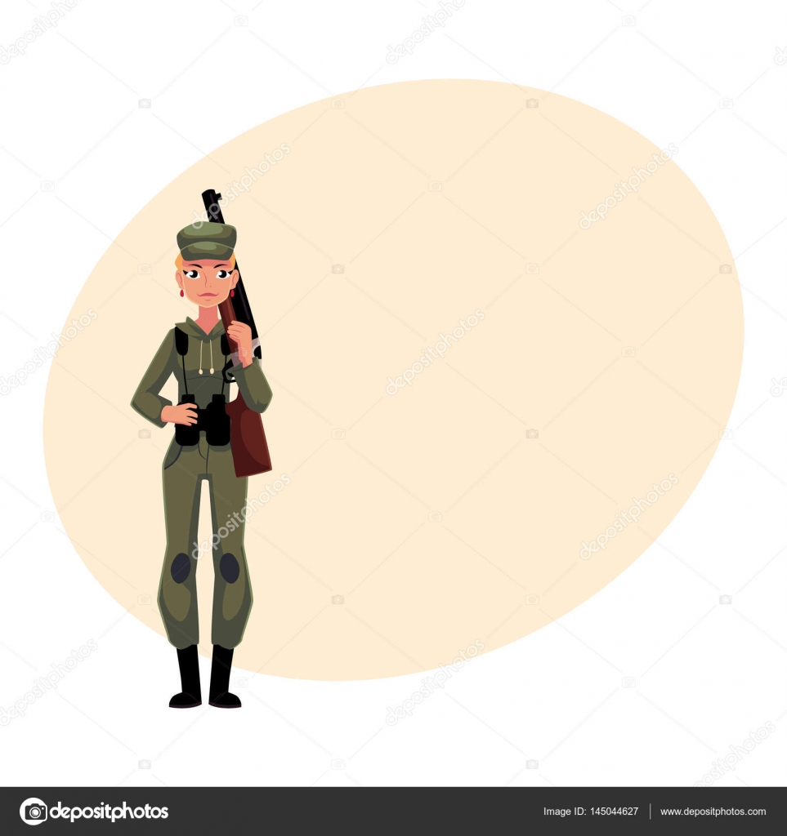 Cazador de la mujer en ropa de caza de estilo militar de camuflaje ...