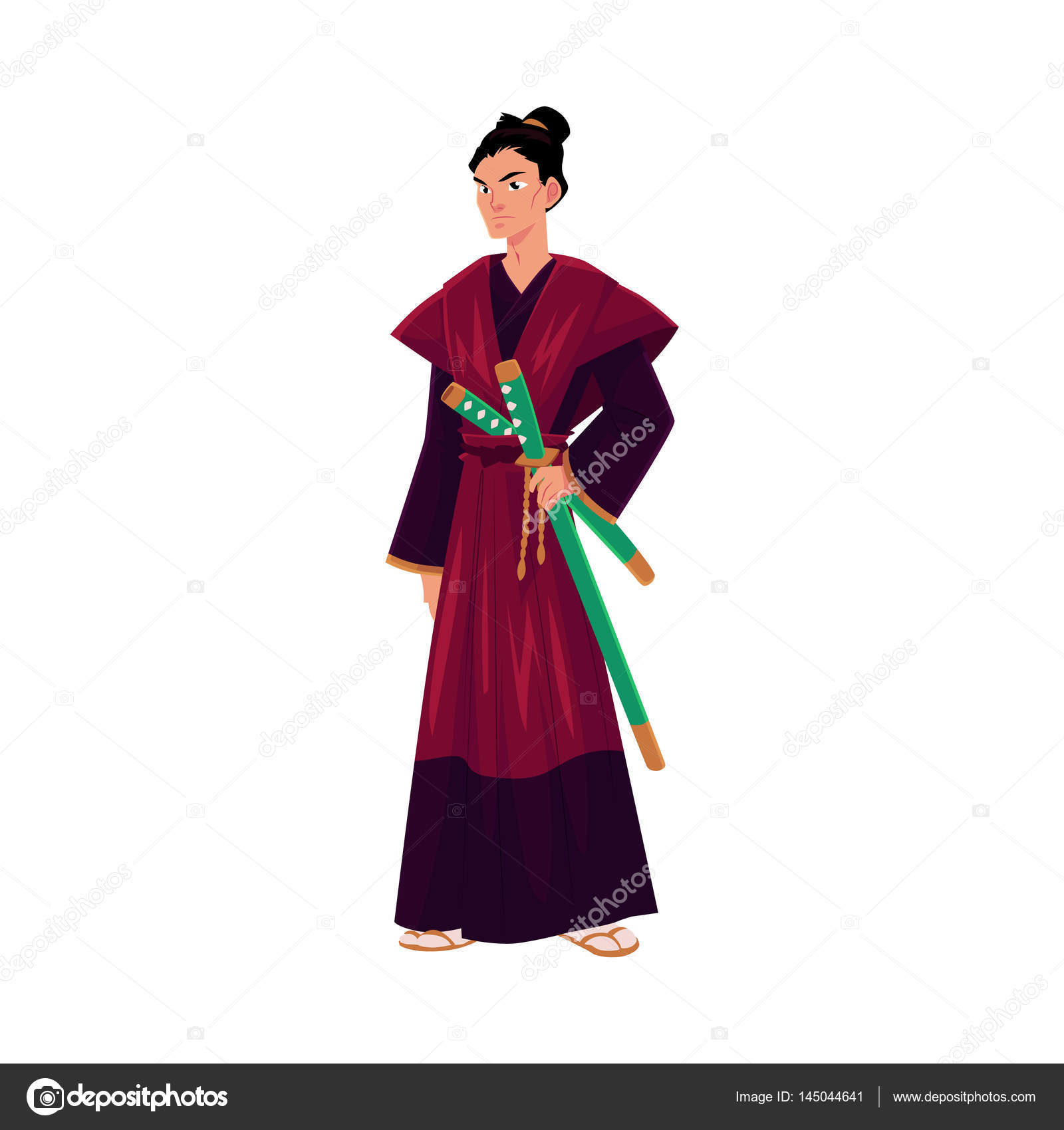 Japanese Samurai Warrior In Traditional Kimono With Katana Swords Stock Vector
