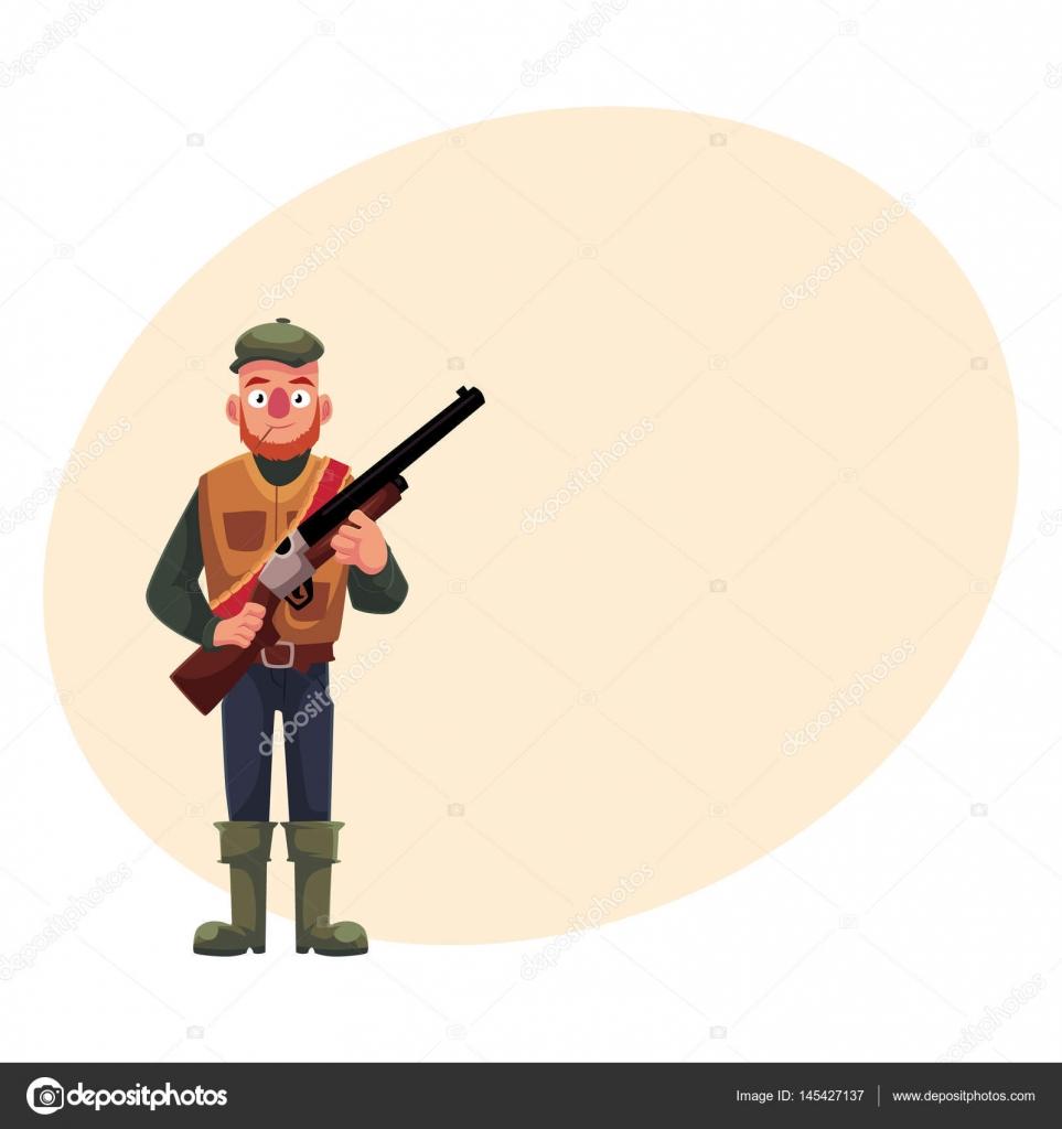 Divertido hunter en chaleco de caza y de goma botas de explotación ...