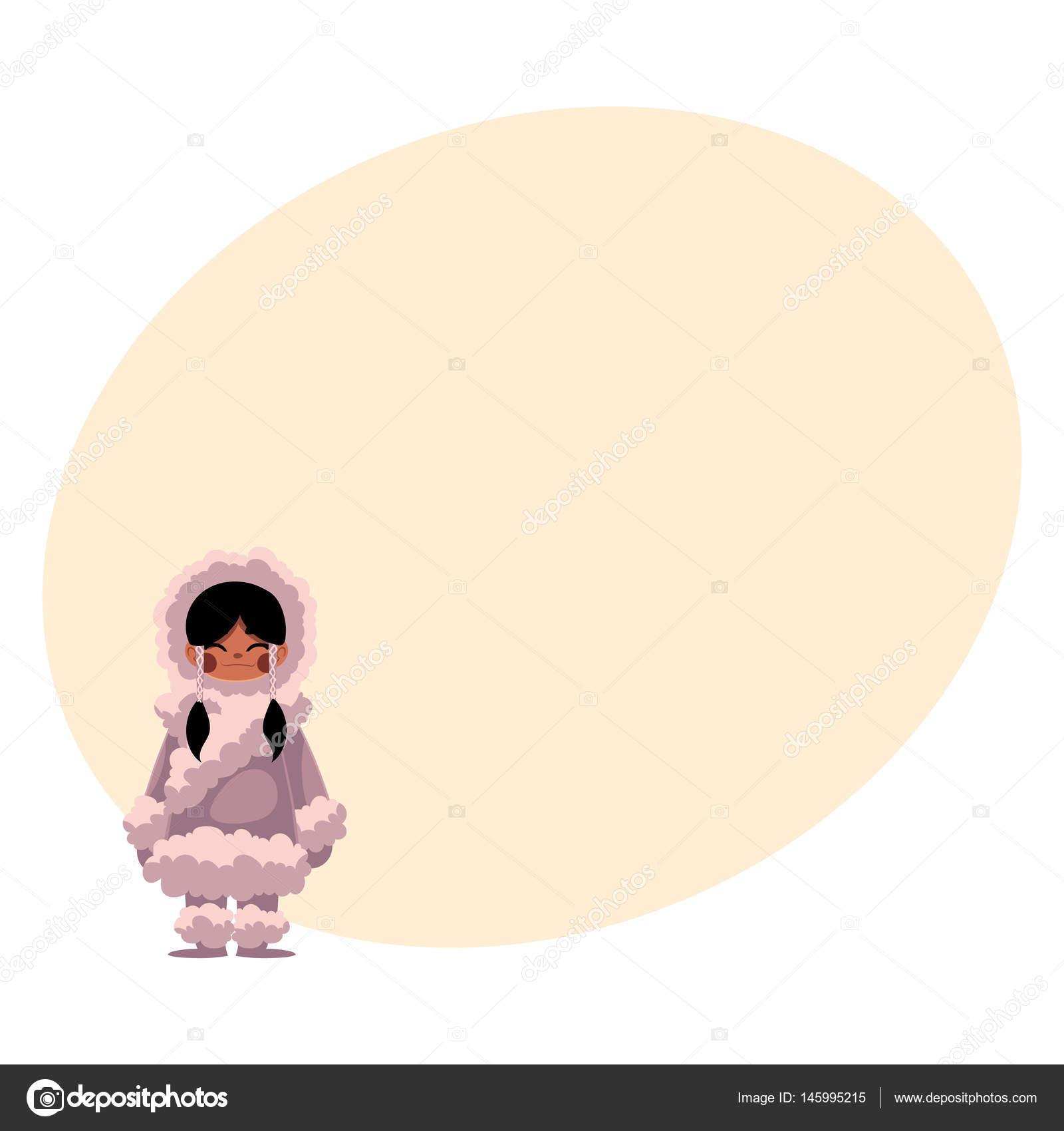 Esquimau Inuit Noire Fille Aux Cheveux En Vêtements D Hiver