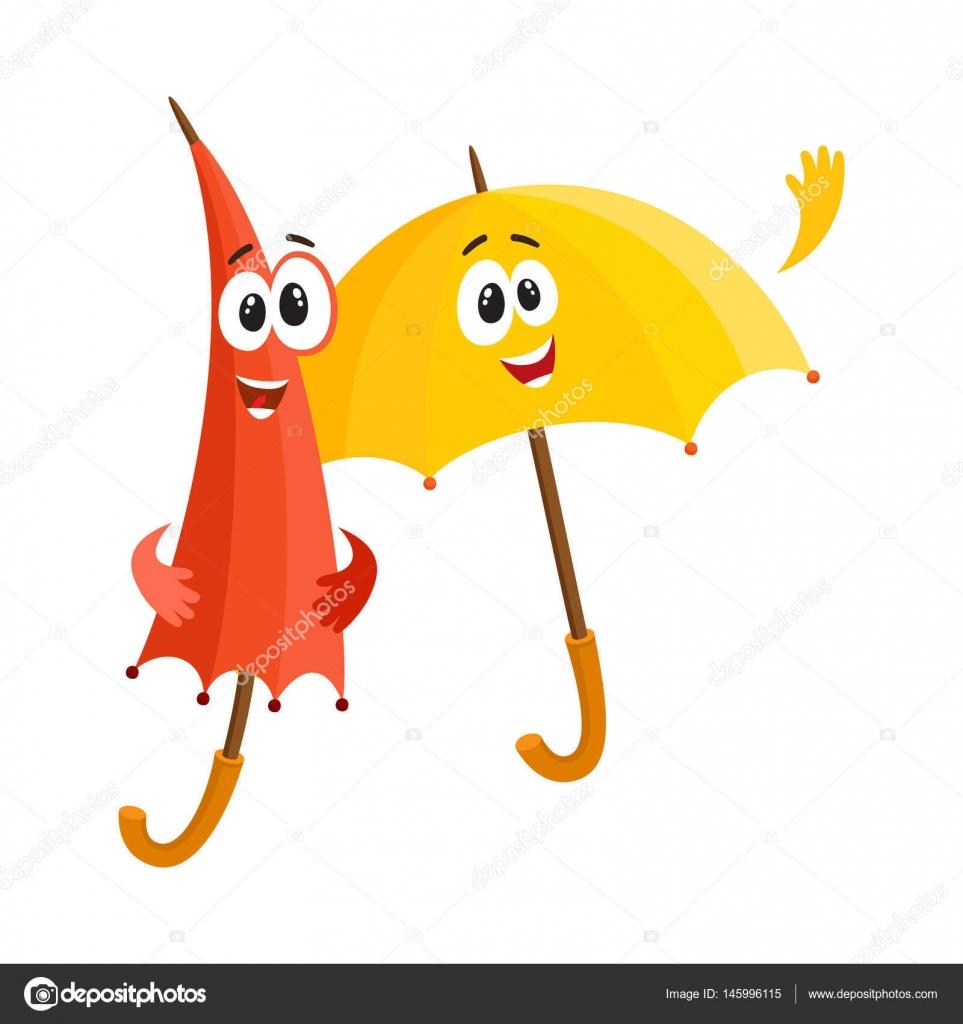 Favori souriants personnages parapluie drôles, ouverts et fermés, dire  CU35