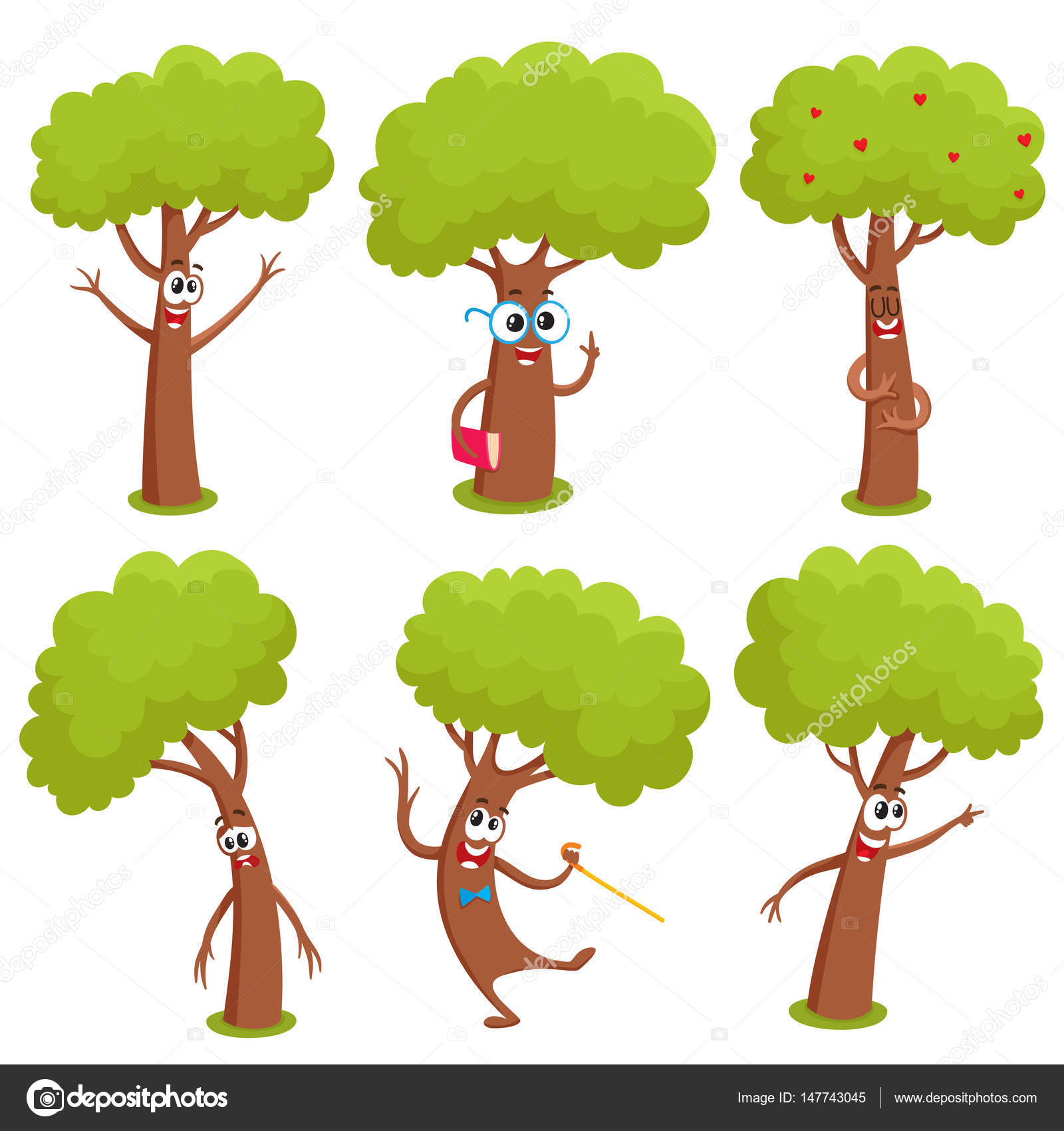 Zeichenmenge lustigen comic baum zeigt verschiedene - Baum comic bilder ...