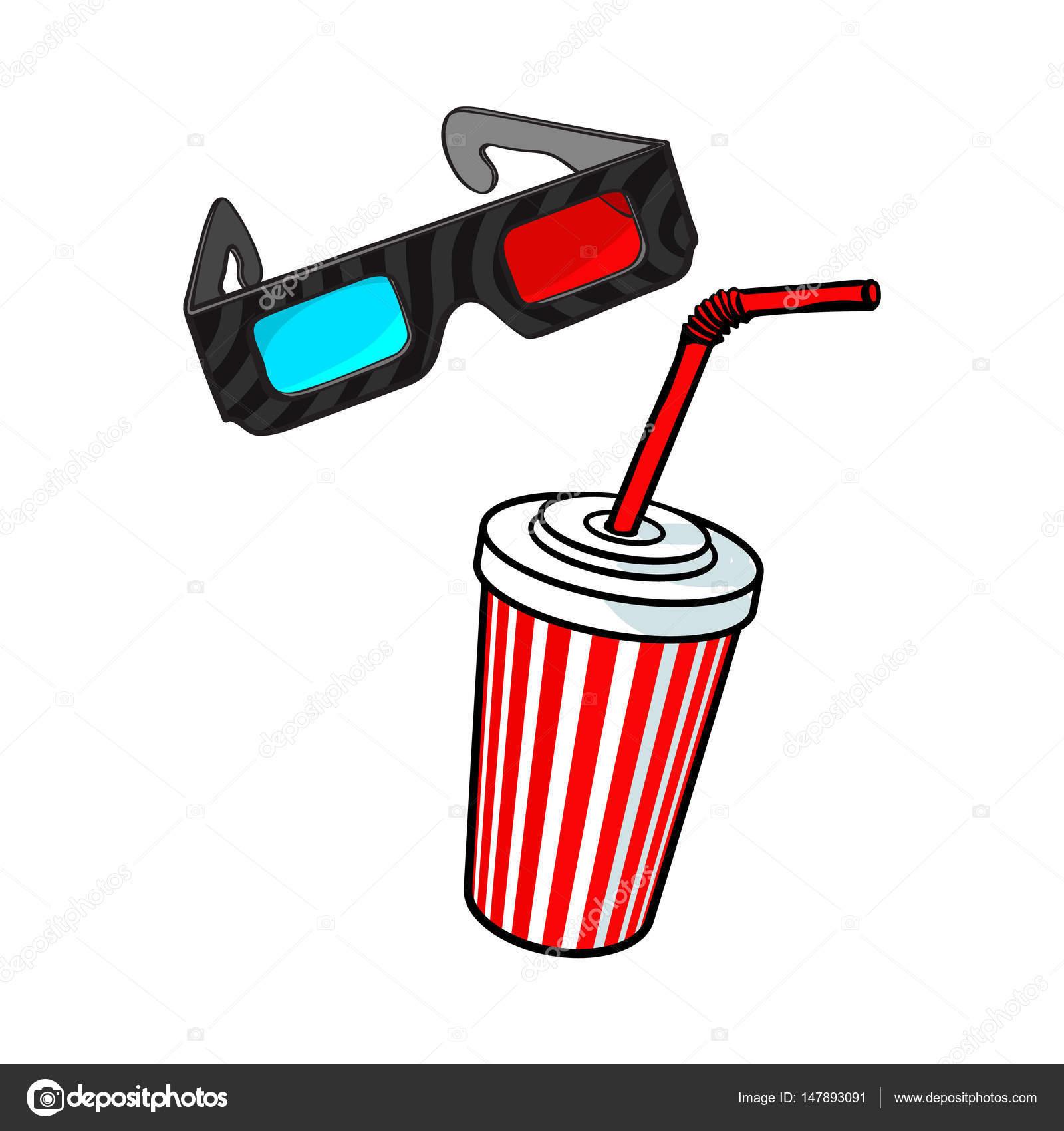 Kino-Objekte - 3d Brille und Sodawasser in Papierschale ...