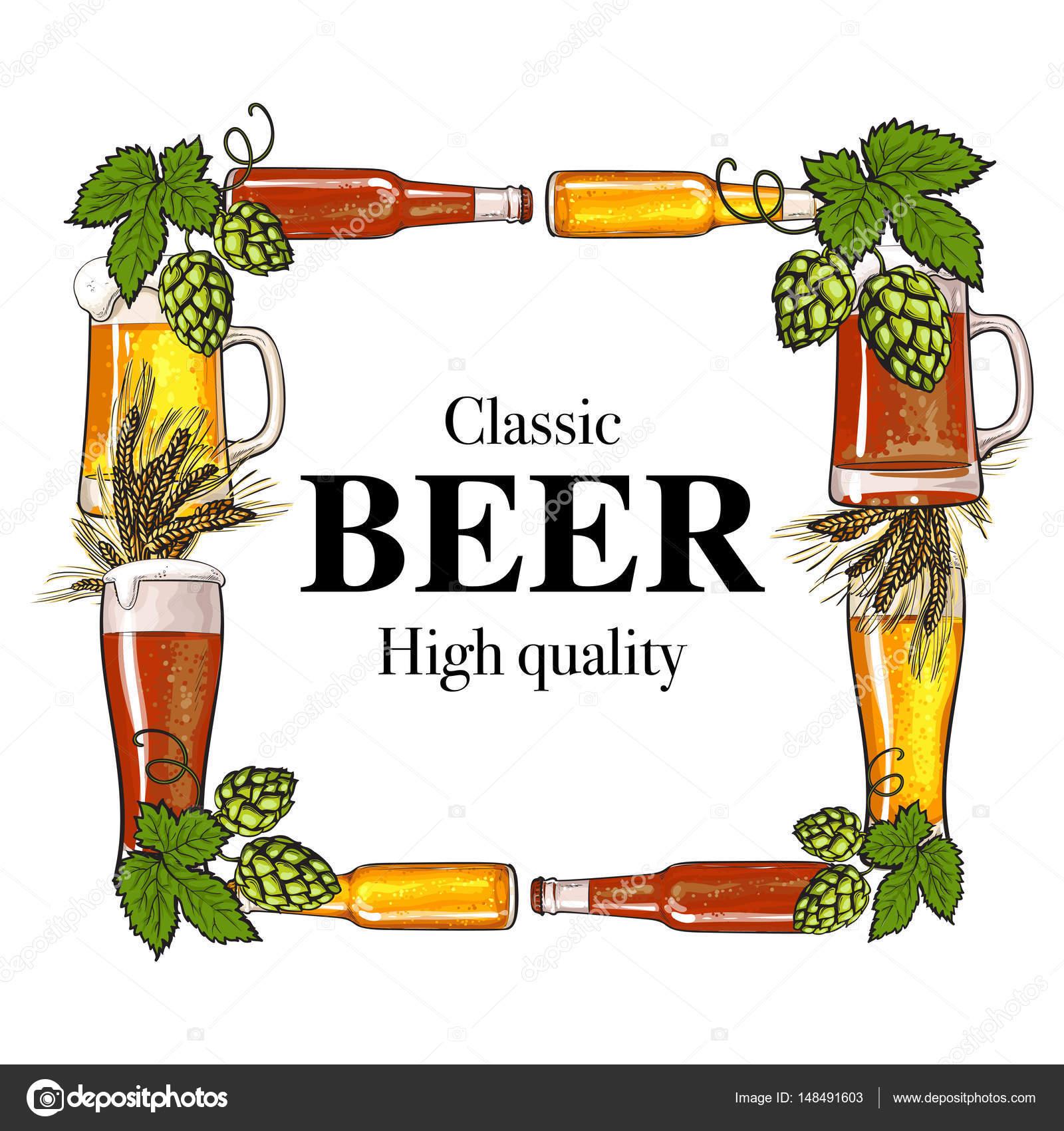 Marco cuadrado de botella de cerveza, taza, vidrio, Malta y lúpulo ...
