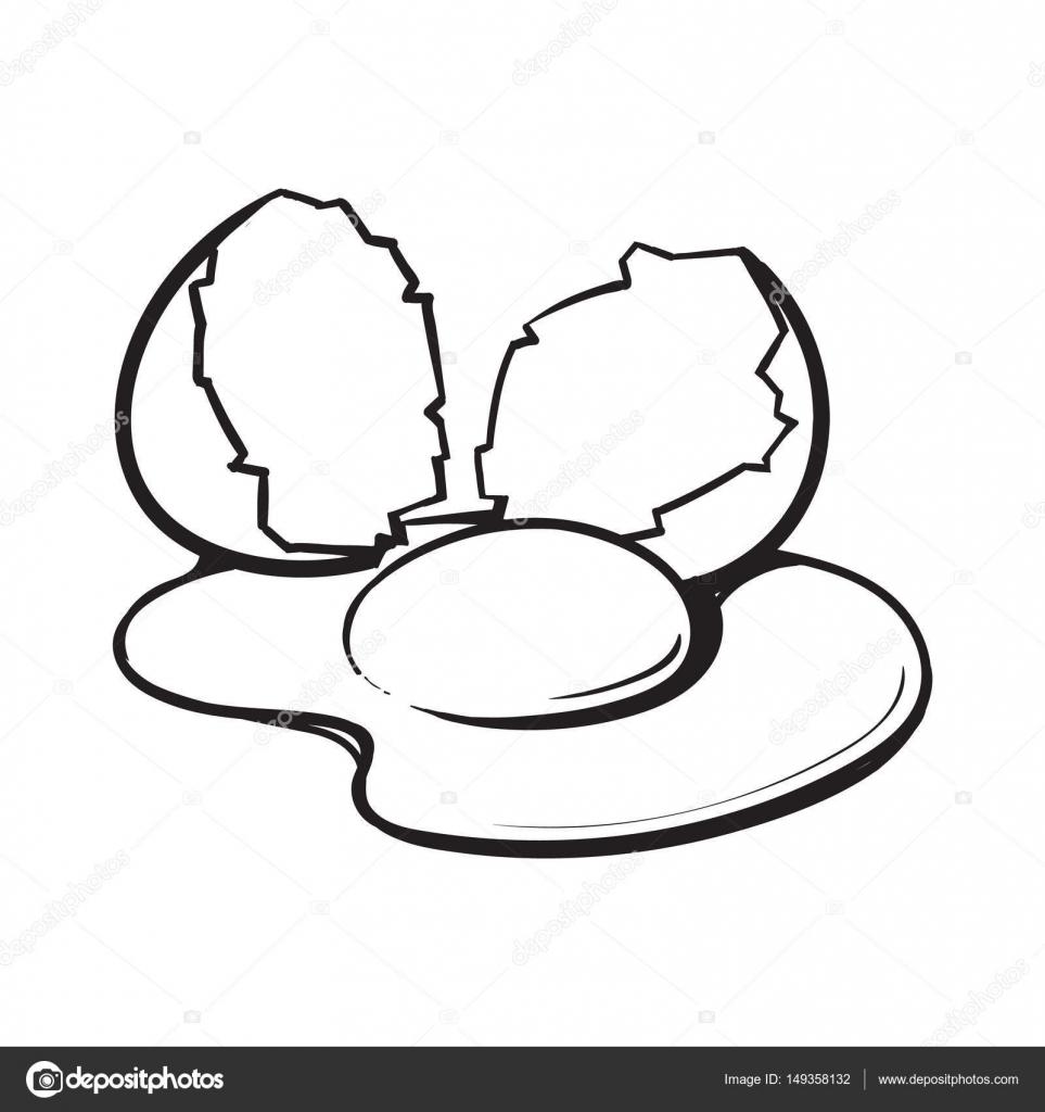 ovo de galinha rachado quebrado e derramado estilo desenho