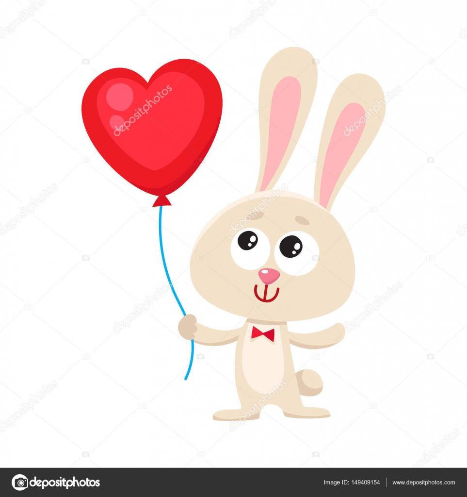 Nette Und Lustige Hase Hase Mit Roten Herzen Geformt Ballon