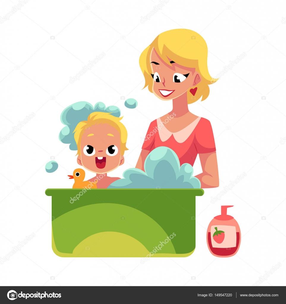 Im genes mamas con su bebe animadas joven madre lava a - Laver un bebe dans une douche ...