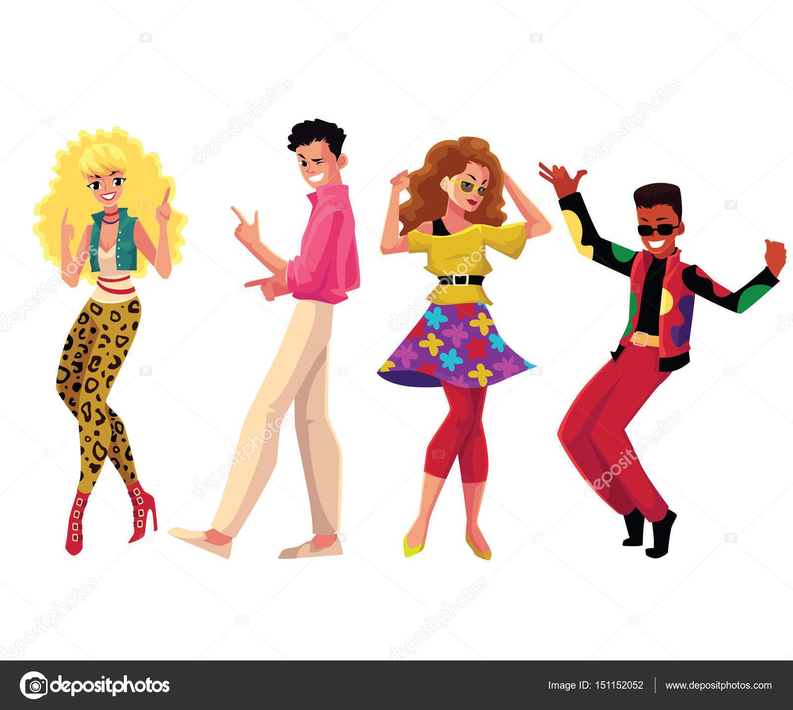 Pessoas Com Roupas De Estilo Da Década De 1980 Dançar Na