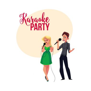 Karaoke party, contest banner, poster, postcard design with singer couple