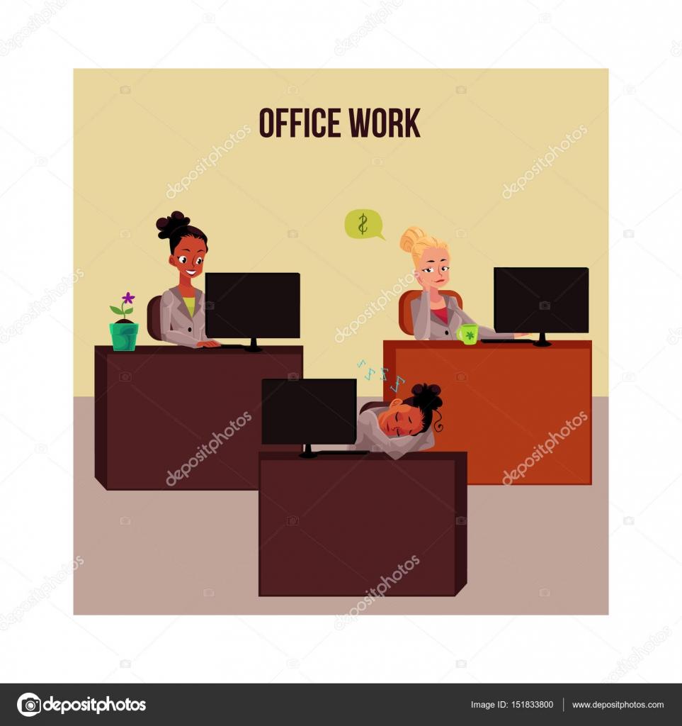 Cartel de vida oficina banner con mujeres j venes for Cartel oficina