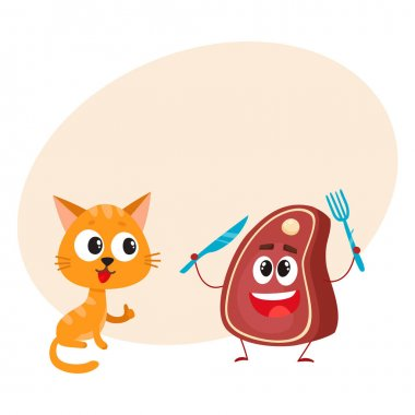 Funny red cat, kitten character, steak holding fork and knife