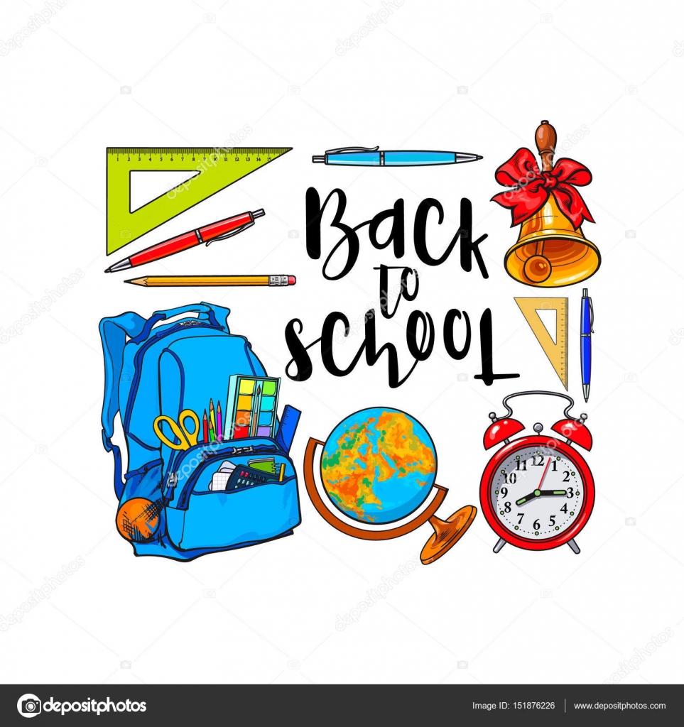 Cuadrado marco de artículos escolares, mochila con lugar para el ...