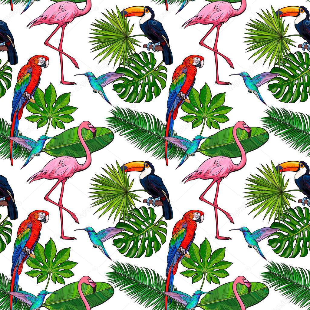 Seamless pattern, backdrop design of tropical palm leaves, birds, flowers