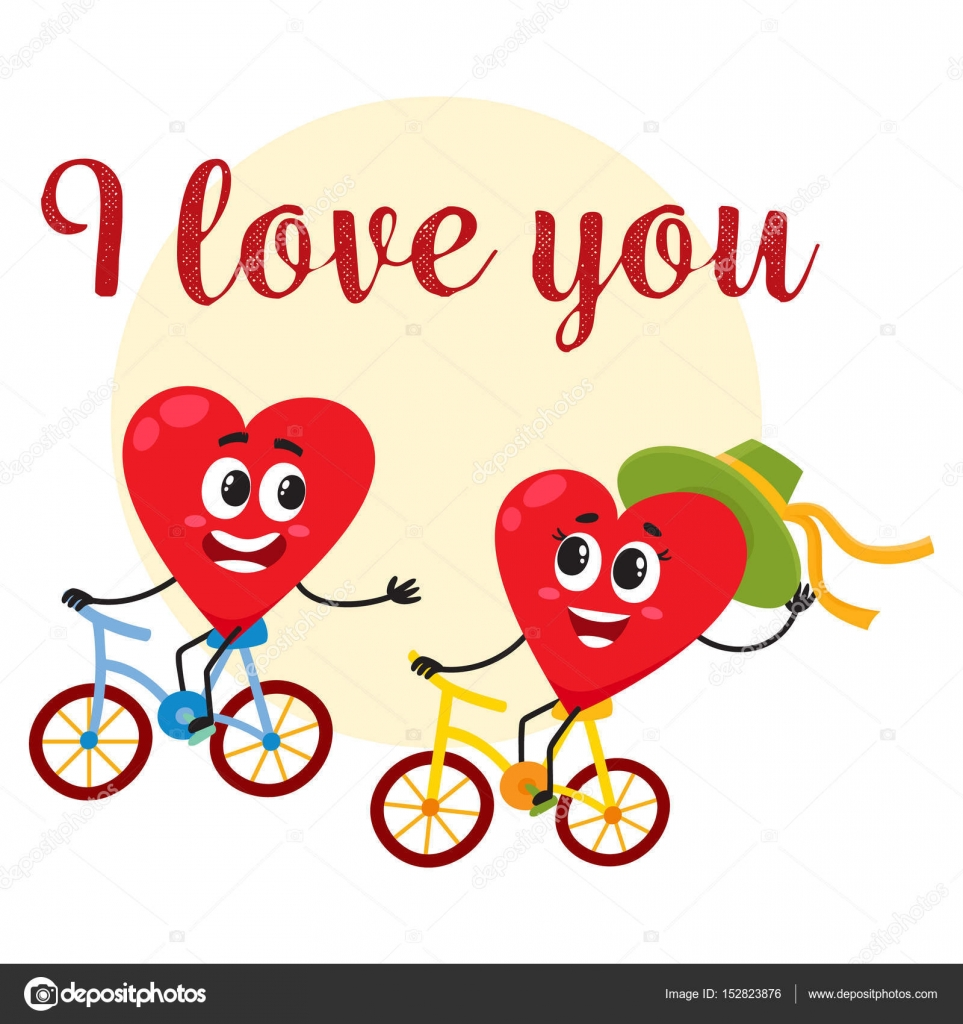 I love you greeting card design with heart characters riding i love you greeting card design with heart characters riding bicycles stock vector kristyandbryce Gallery