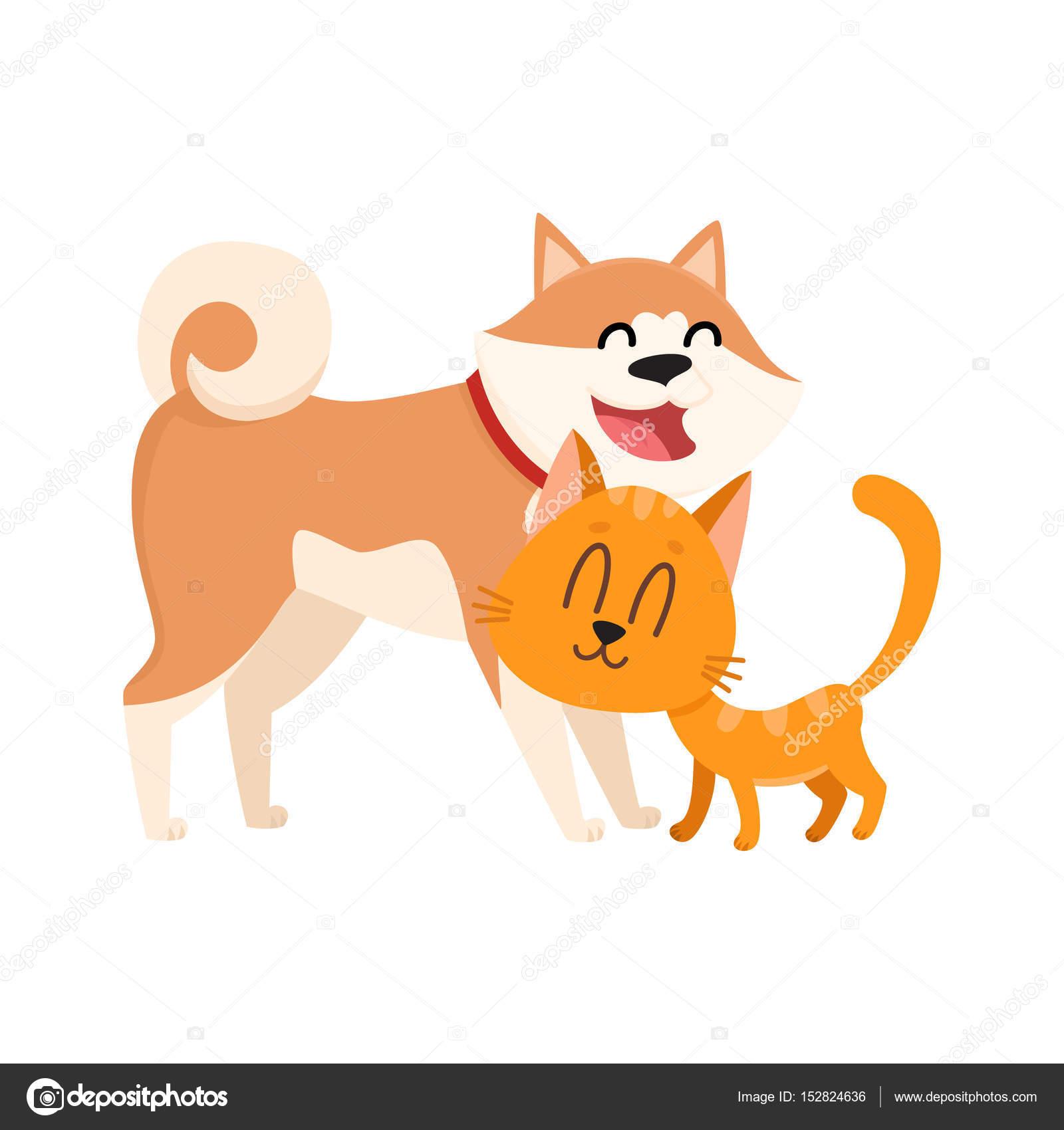Dibujos Amor Y Amistad Akita Inu Perro Y Rojo El Gato Gatito