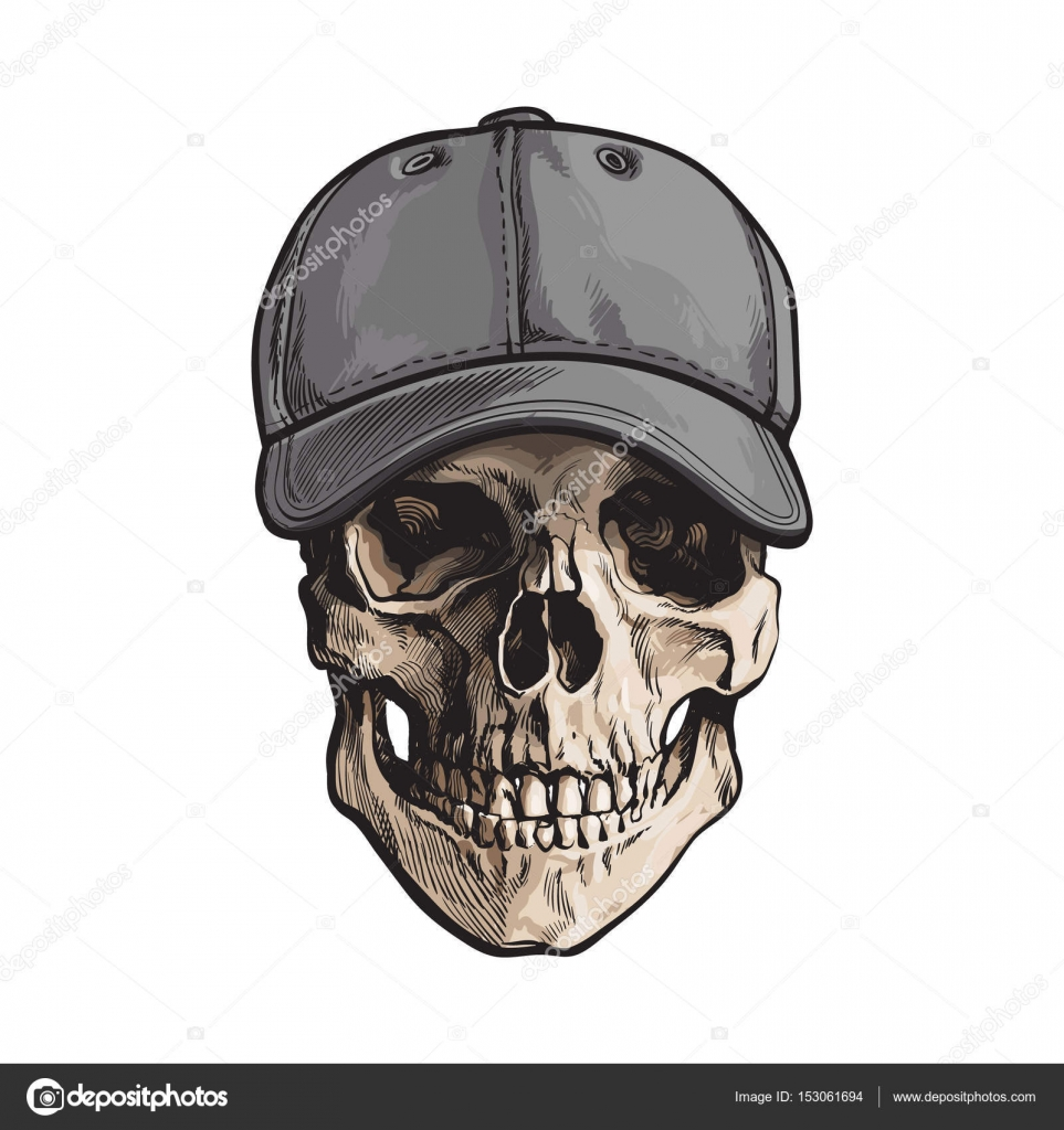 Mano dibujada cráneo humano usa gris colores sin etiqueta gorra ...
