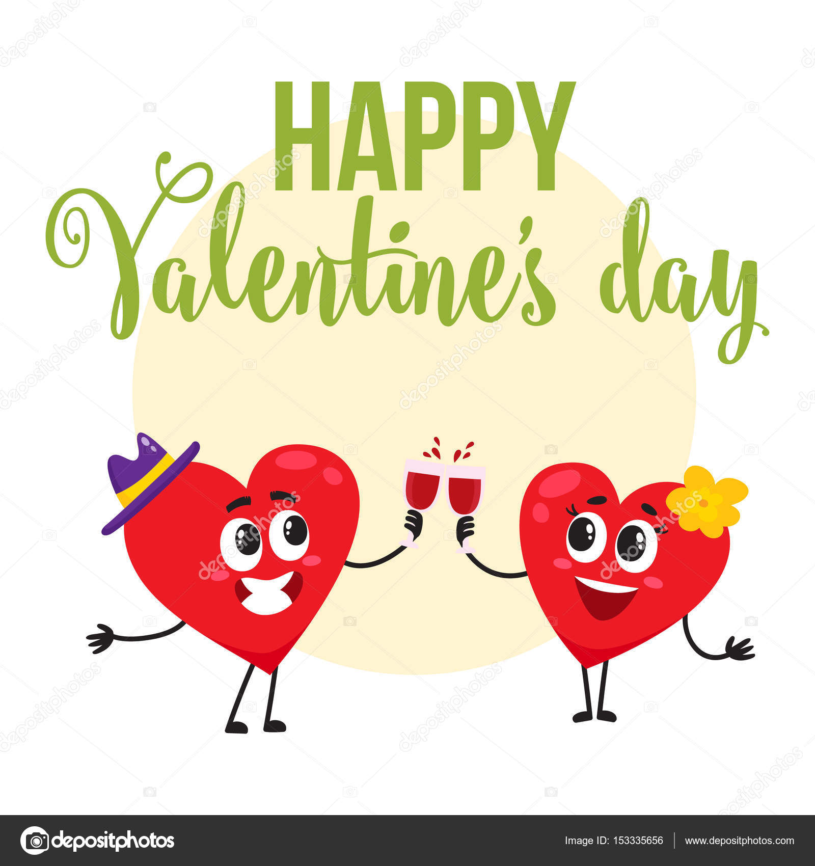 Valentine day greeting card design with heart characters clinking valentine day greeting card design with heart characters clinking glasses stock vector kristyandbryce Choice Image
