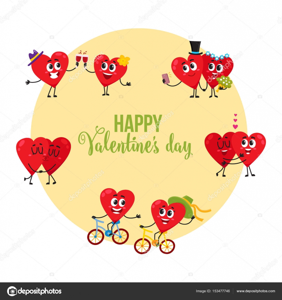 Valentine day greeting card with couples of loving heart valentine day greeting card with couples of loving heart characters stock vector kristyandbryce Choice Image