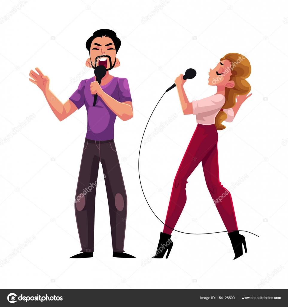 男と女、カップルのカラオケ パーティー、コンテスト、競争、一緒に歌う