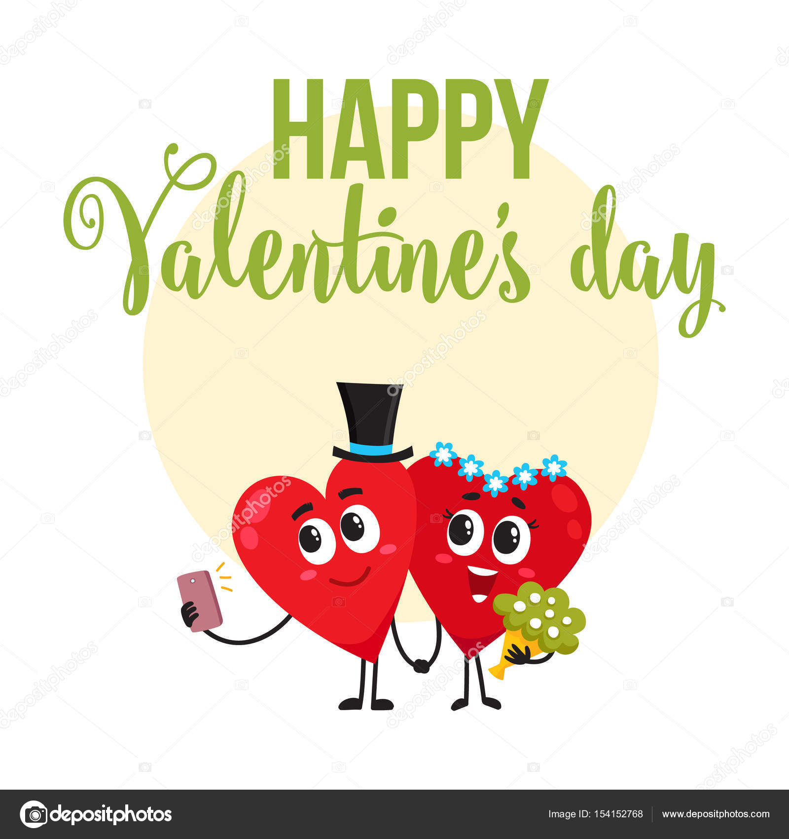 Valentine day greeting card design with heart characters having valentine day greeting card design with heart characters having wedding stock vector kristyandbryce Gallery