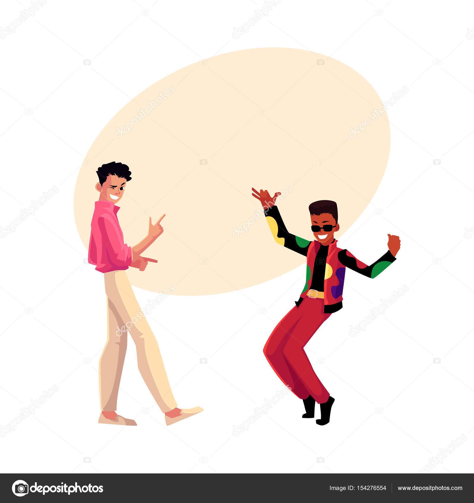 Zwei Männer, Jungs, kaukasischen und schwarz im Retro-Disco-party ...