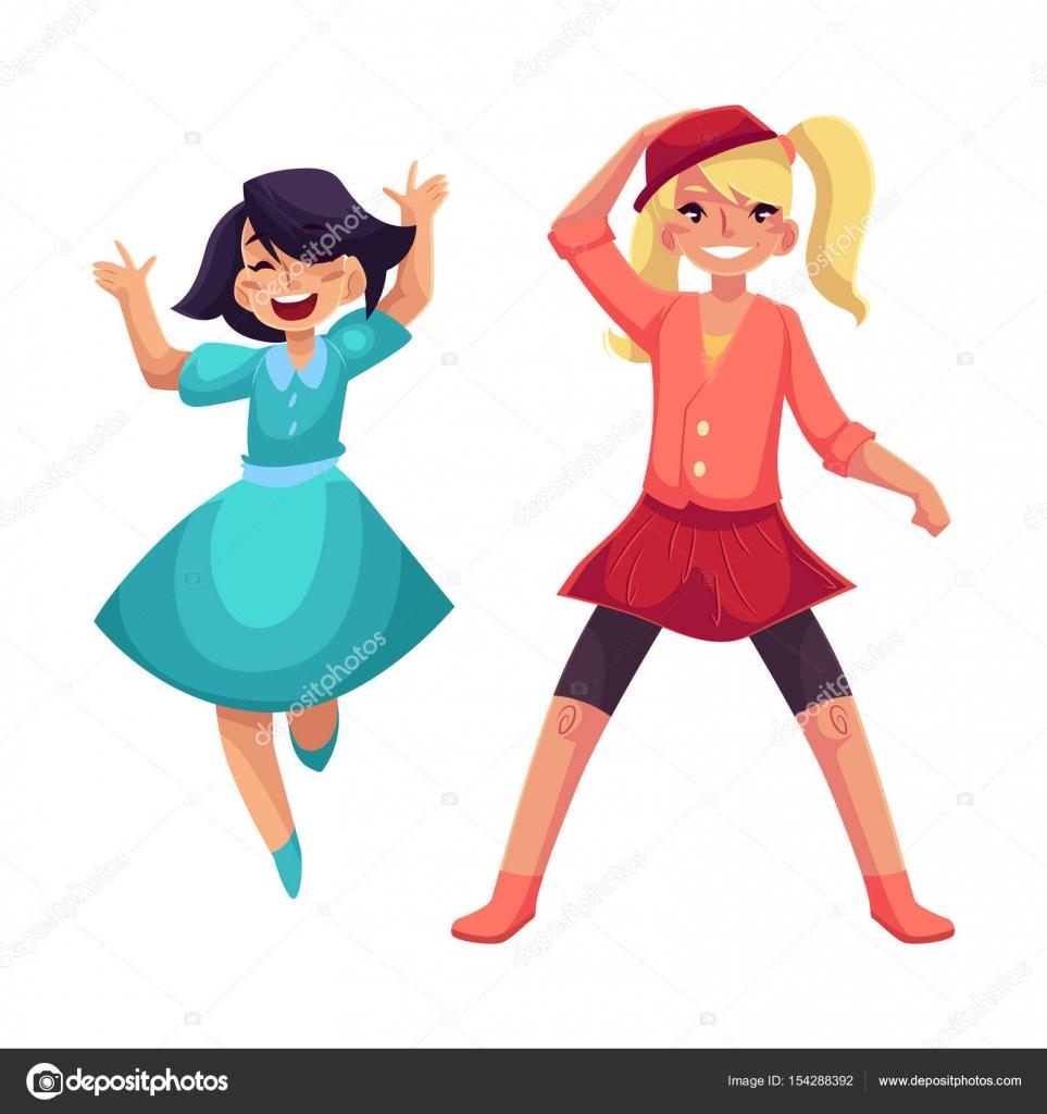 Zwei Mädchen tanzen in der Partei, blaues Kleid, Rock und leggings ...