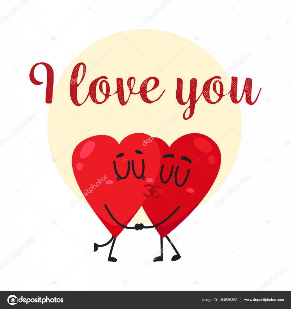 I love you greeting card design with two kissing heart characters i love you greeting card design with two kissing heart characters stock vector kristyandbryce Gallery