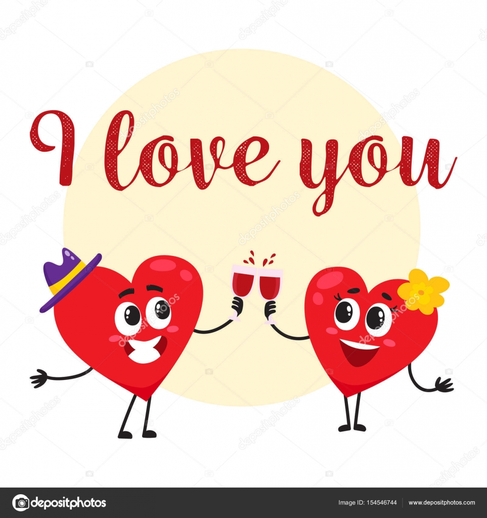I love you greeting card design with heart characters clinking i love you greeting card design with heart characters clinking glasses stock vector kristyandbryce Gallery