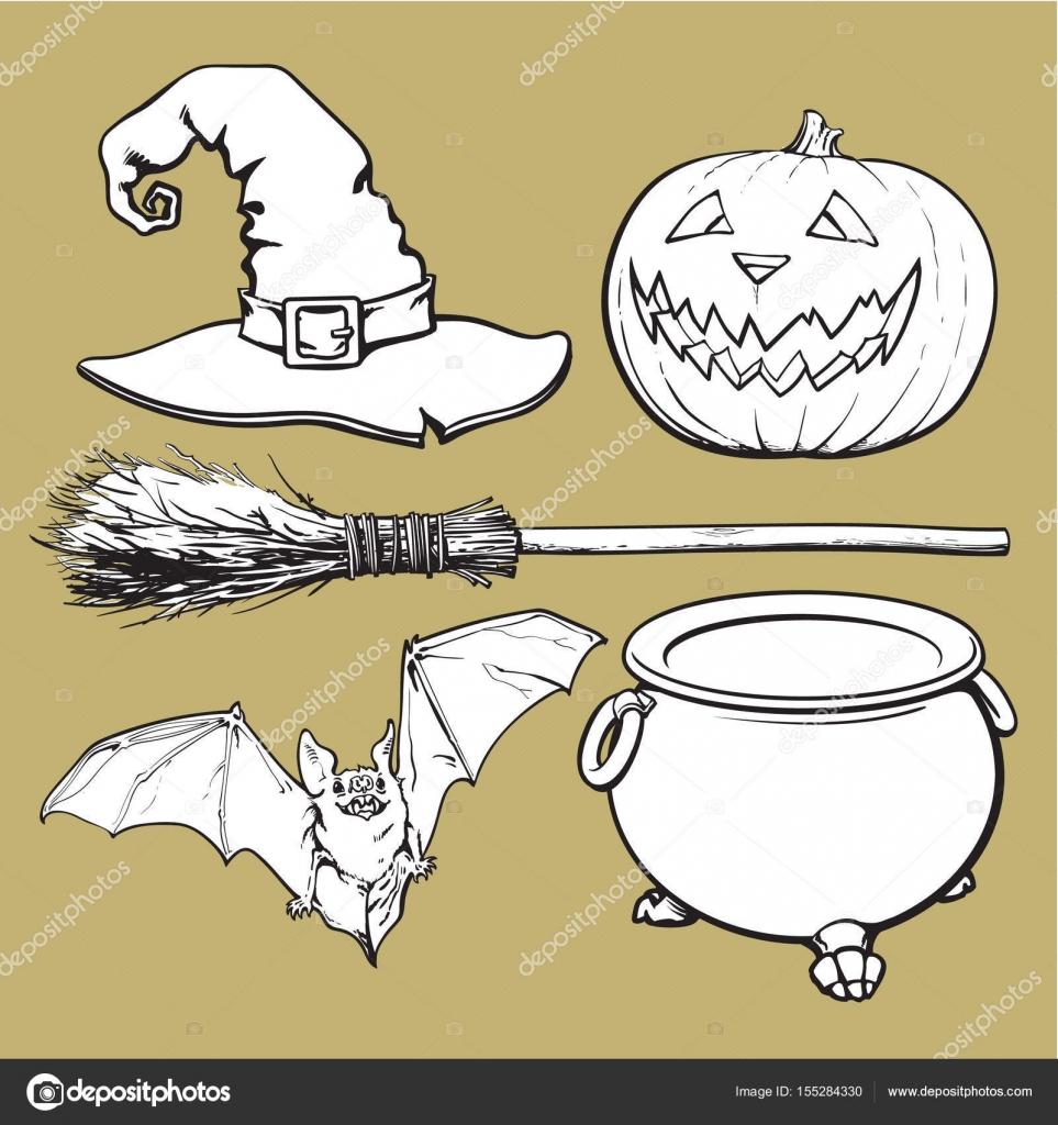 Hexe, Halloween Zubehör - Hut, Kessel, Jack-o-Laterne, Besen ...