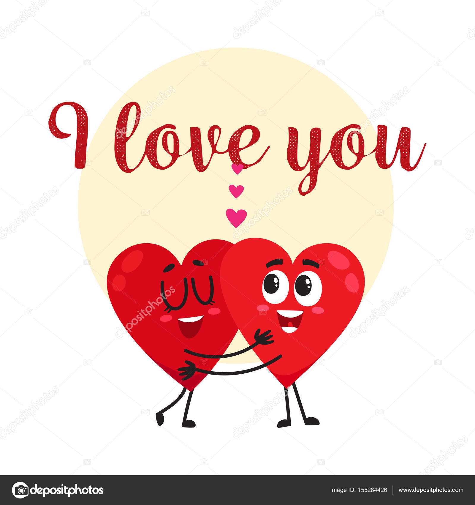 I love you - greeting card design with two hugging heart ...