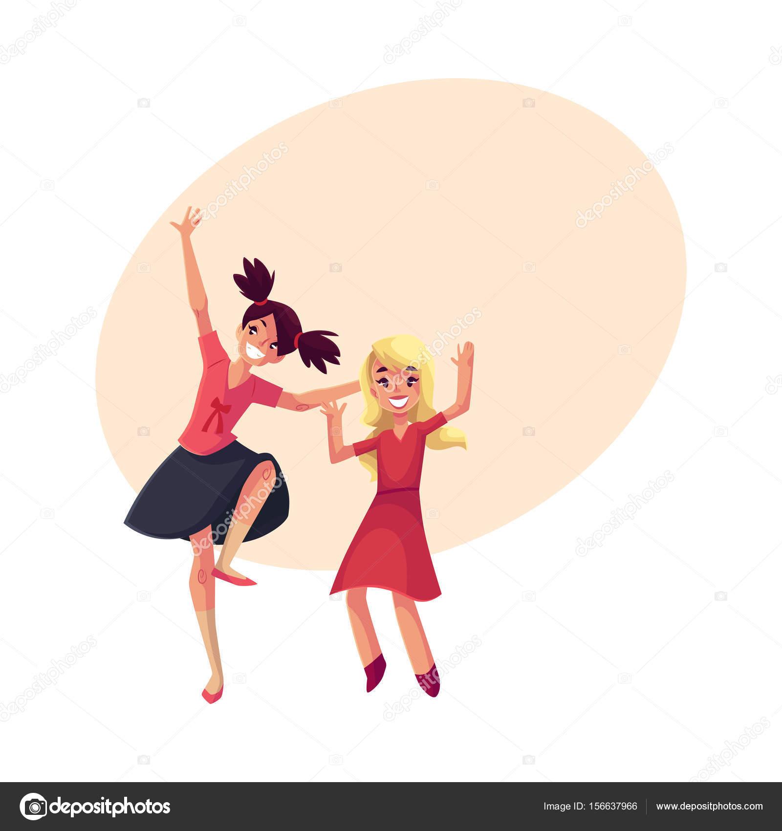 Zwei Mädchen tanzen in der Partei, blaues Kleid, Teenager ...