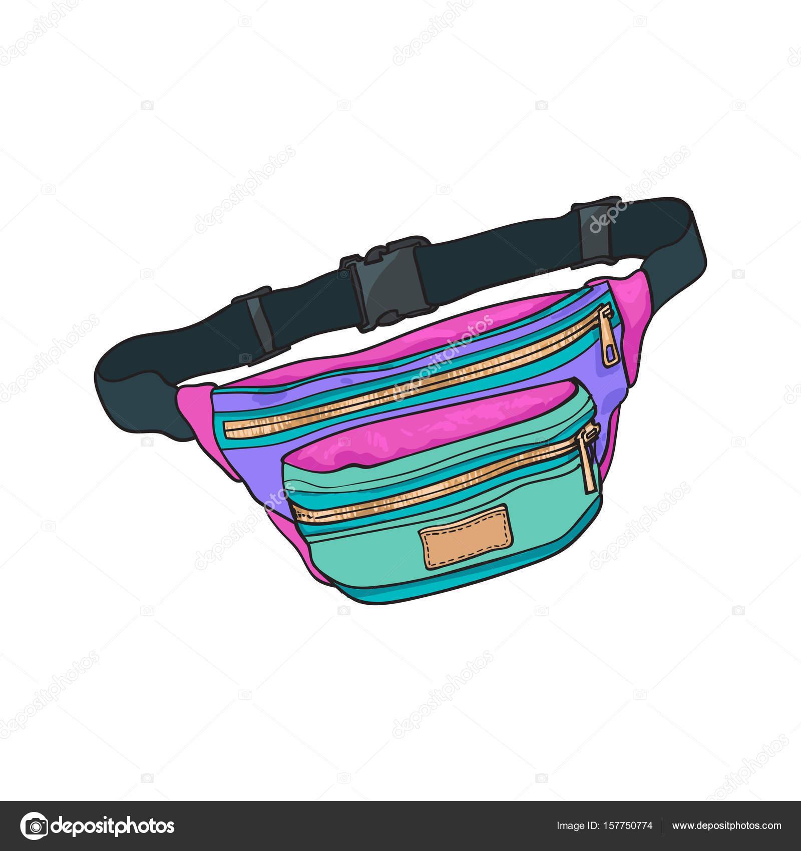 Bunte Retro Stil Bunte Gürteltasche Mode Accessoire Aus Der 90er