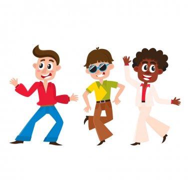 Set of cartoon style retro disco dancers, black and Caucasian