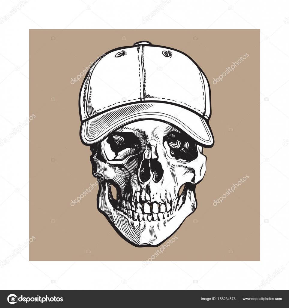 Mano dibujada cráneo humano lleva gorra de béisbol sin etiqueta ...