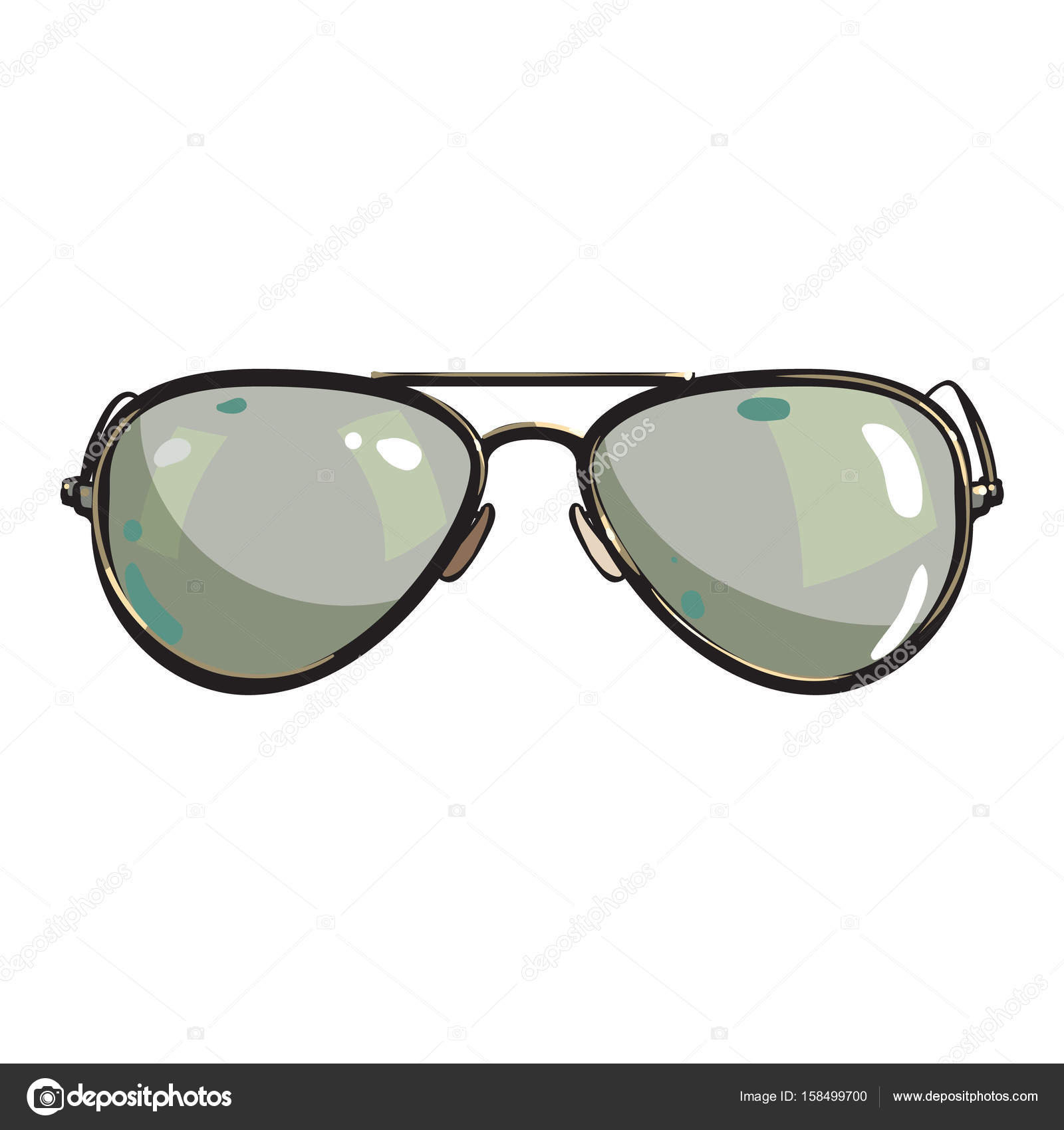 237758170fbe7 Hand drawn aviator sunglasses in metal frame with green lenses — Stock  Vector