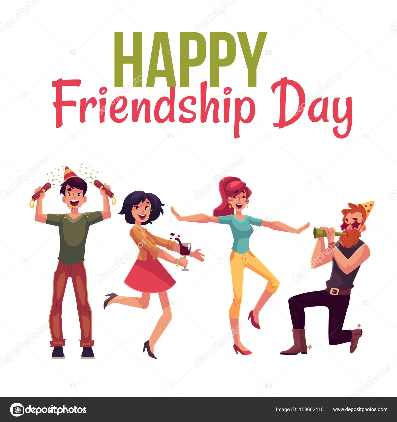 Happy Friendship Day Greeting Card Design With Friends Having Fun At A  Party, Cartoon Vector Illustration Isolated On White Background.