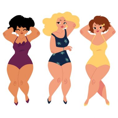 Plump, curvy women, girls, plus size models in swimming suits