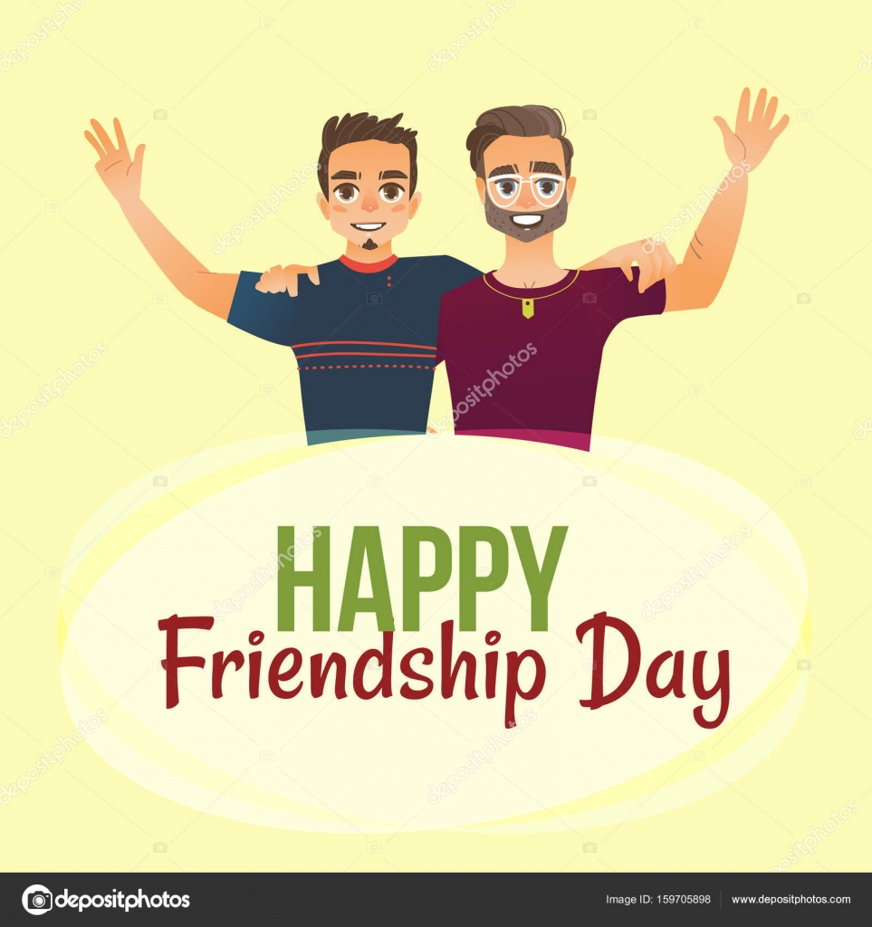 Happy Friendship Day Greeting Card With Two Men Friends Hugging