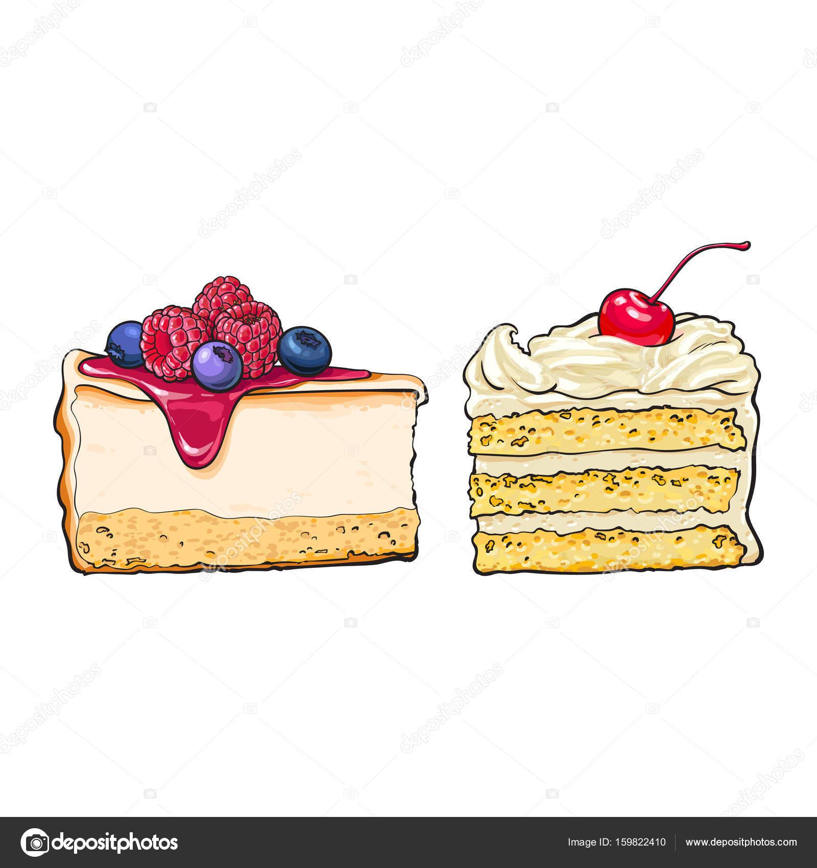 Hand Gezeichnet Dessert Stucke Kasekuchen Und Geschichteten