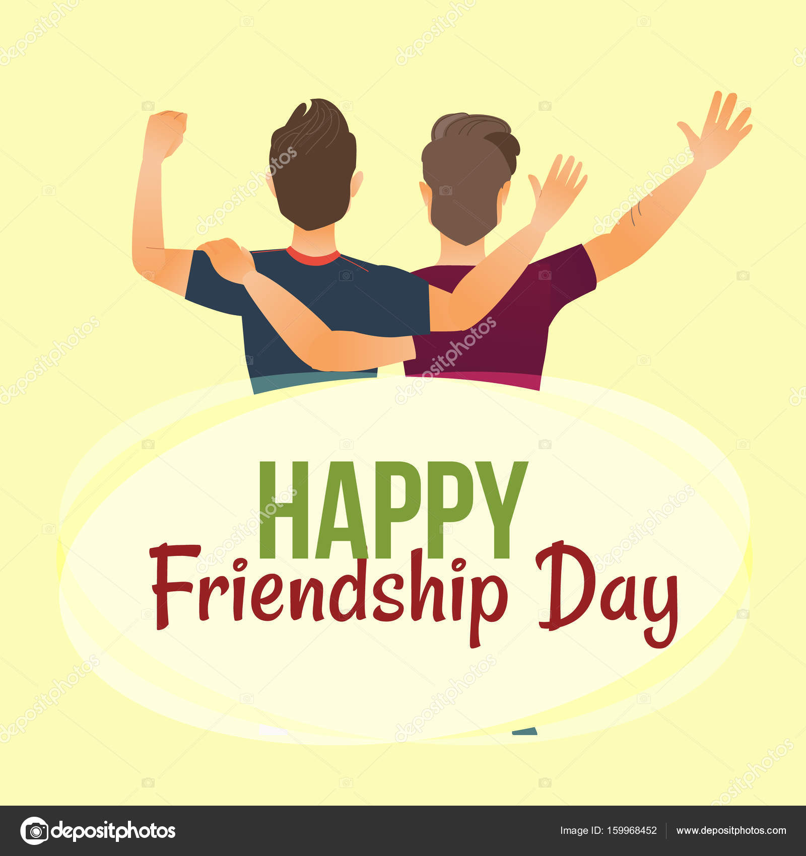Happy Friendship Day Greeting Card Back View Of Two Friends Stock Vector