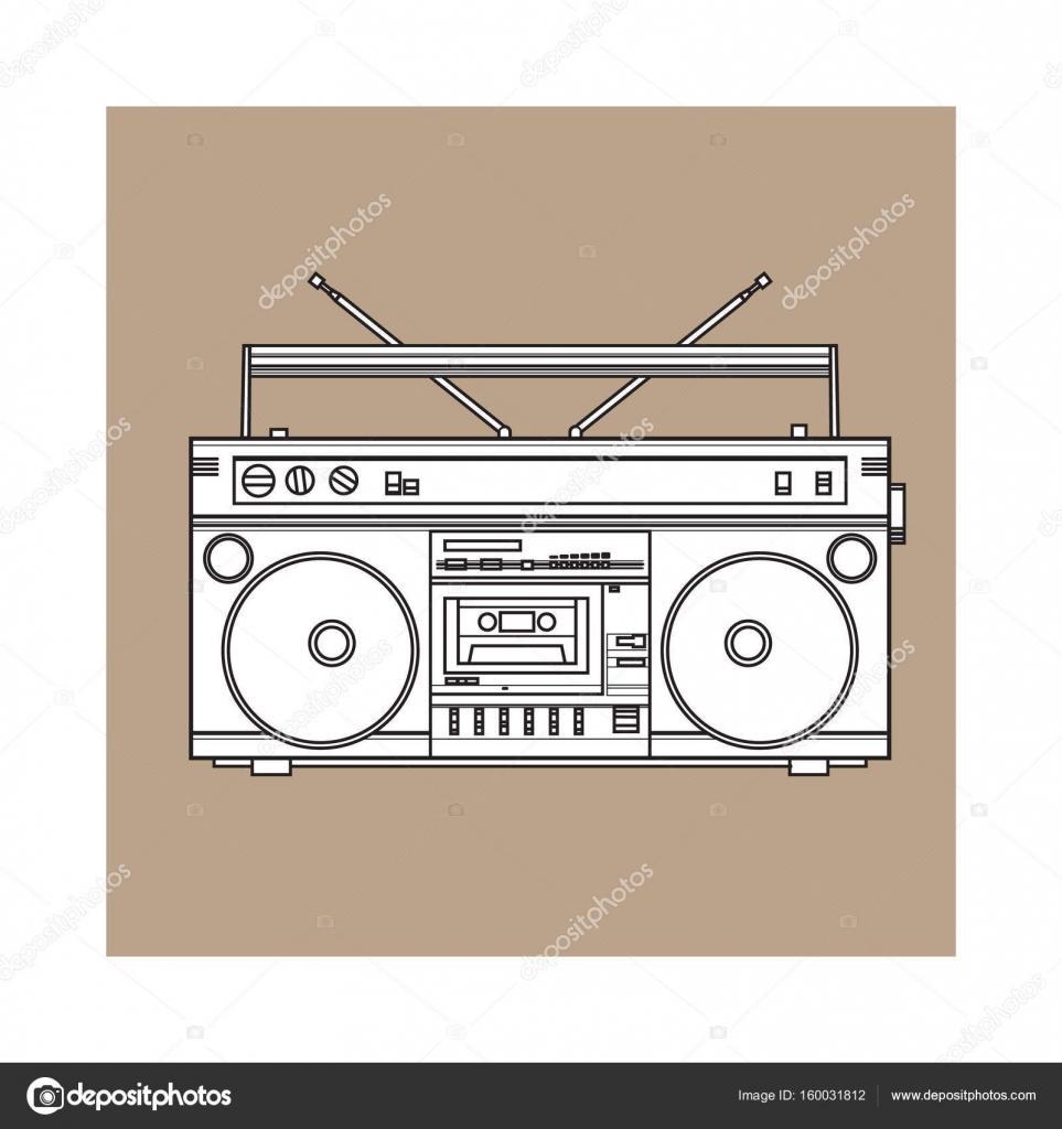 Registrador de cinta audio de estilo retro, ghetto boom box de 90 ...