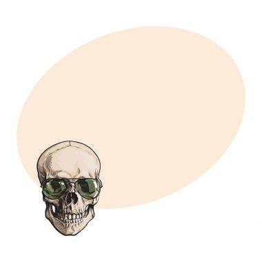 Hand drawn human skull wearing green aviator sunglasses