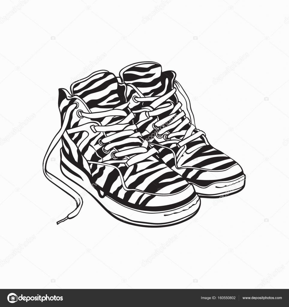 Par de zapatillas de estampado de cebra, zapatos del deporte de los ...