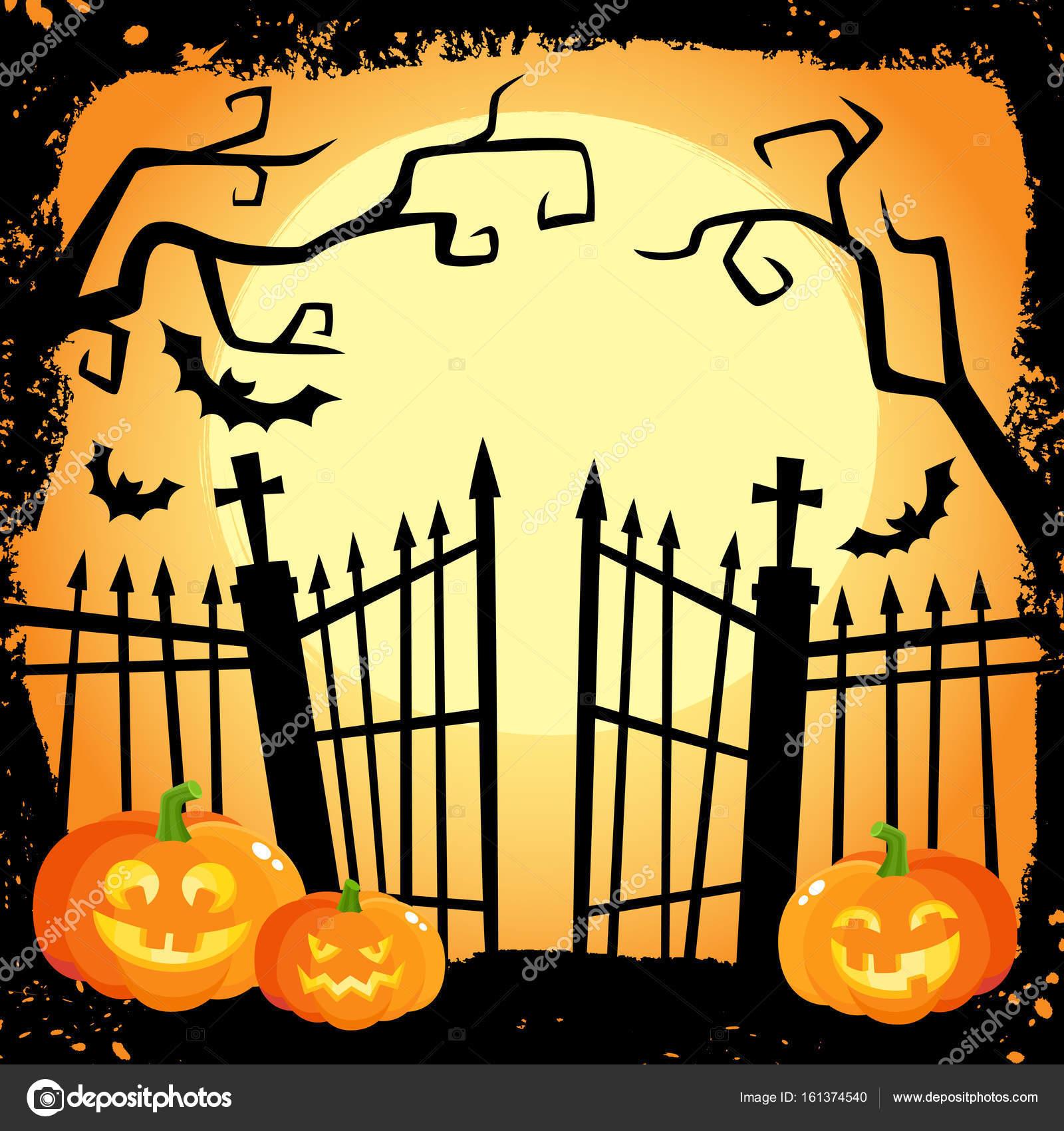 Bannière Halloween Citrouilles Dans Un Cimetière En Riant