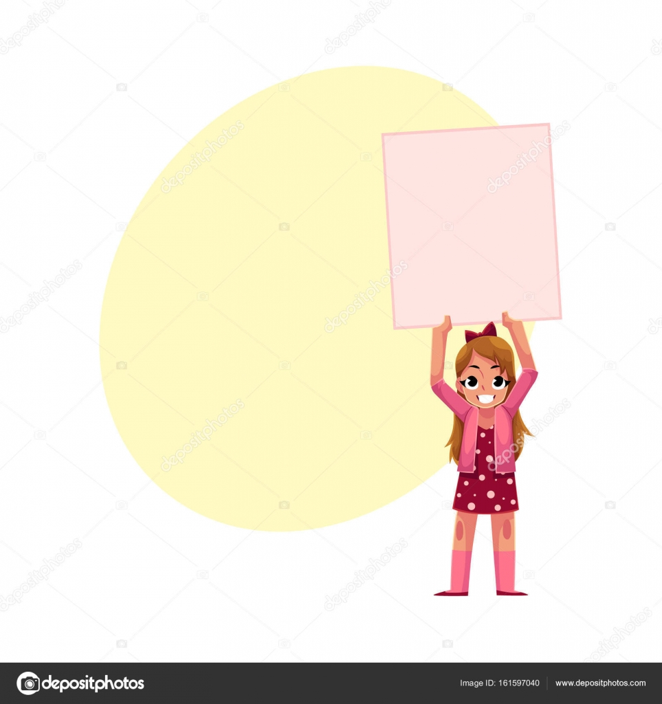little girl child kid holding blank empty poster board stock