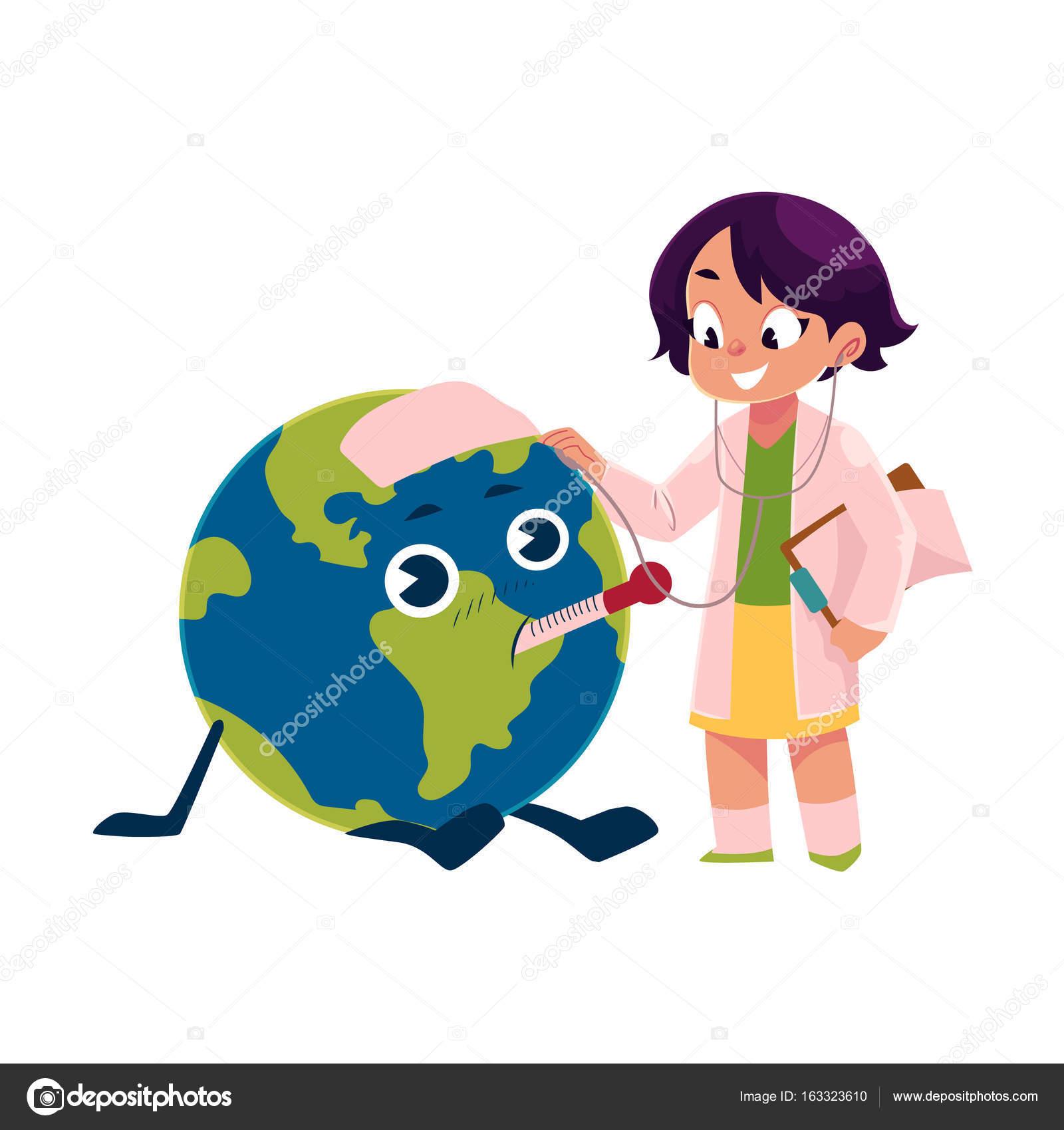 Fille Jouant Docteur Avec Globe Personnage De Planète Terre