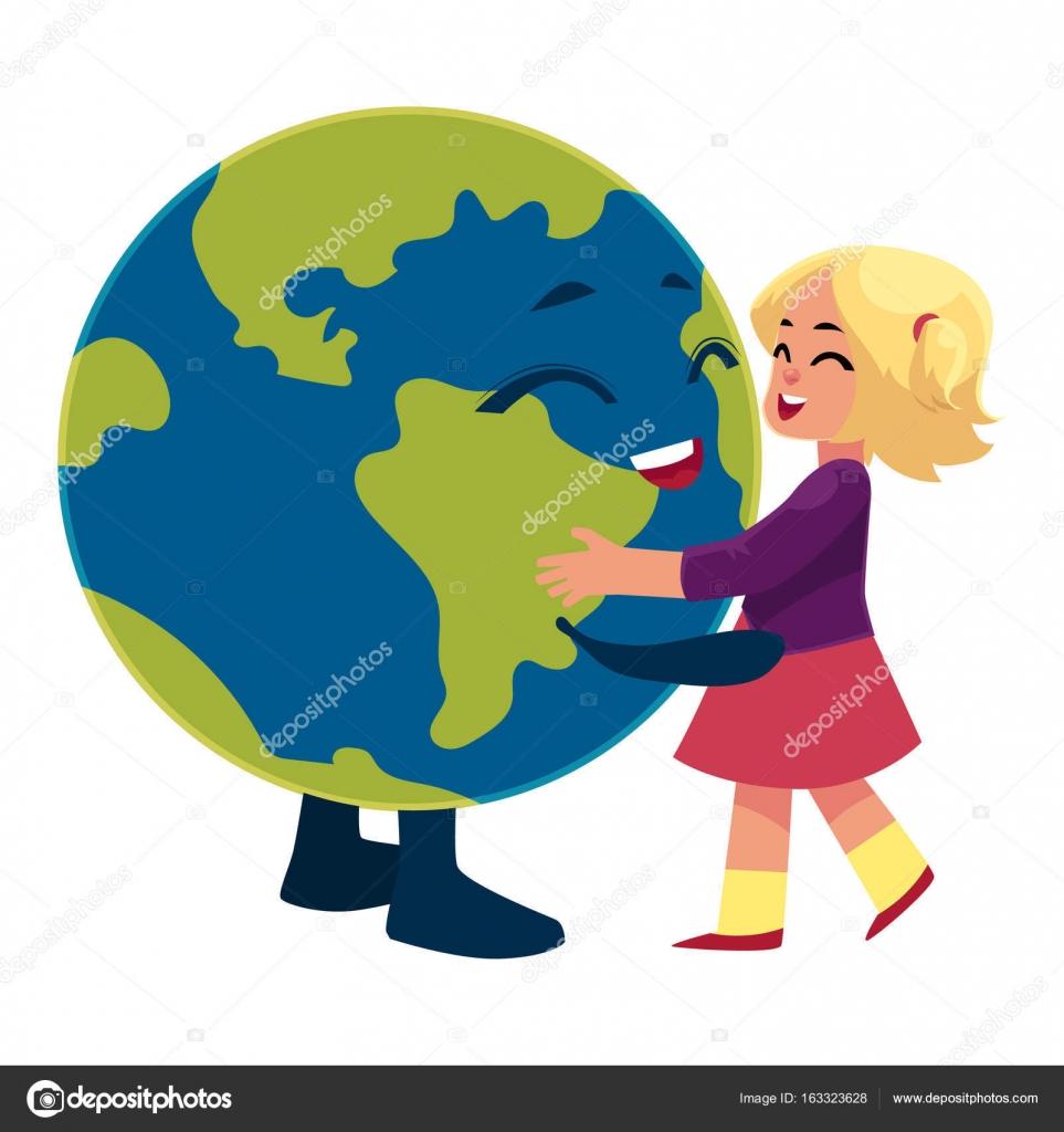 Jeune Fille Dansant Avec Globe Personnage De Planète Terre