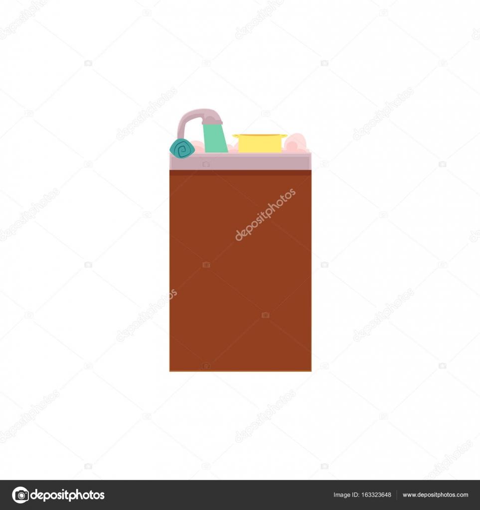 Side View Cartoon Bild der Küchenspüle — Stockvektor © Sabelskaya ...
