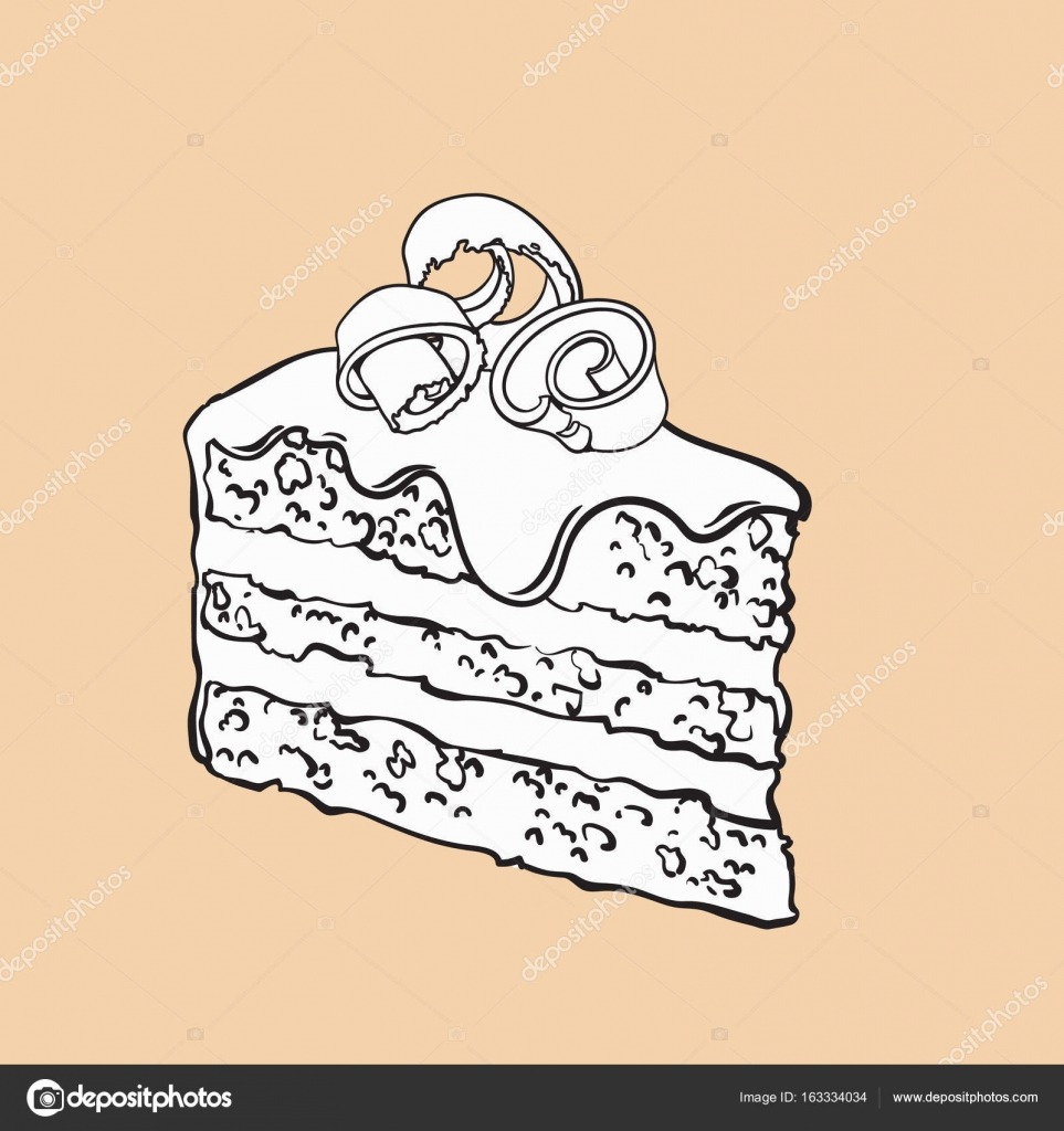Pieza dibujada mano de pastel de chocolate en capas con Glas ...