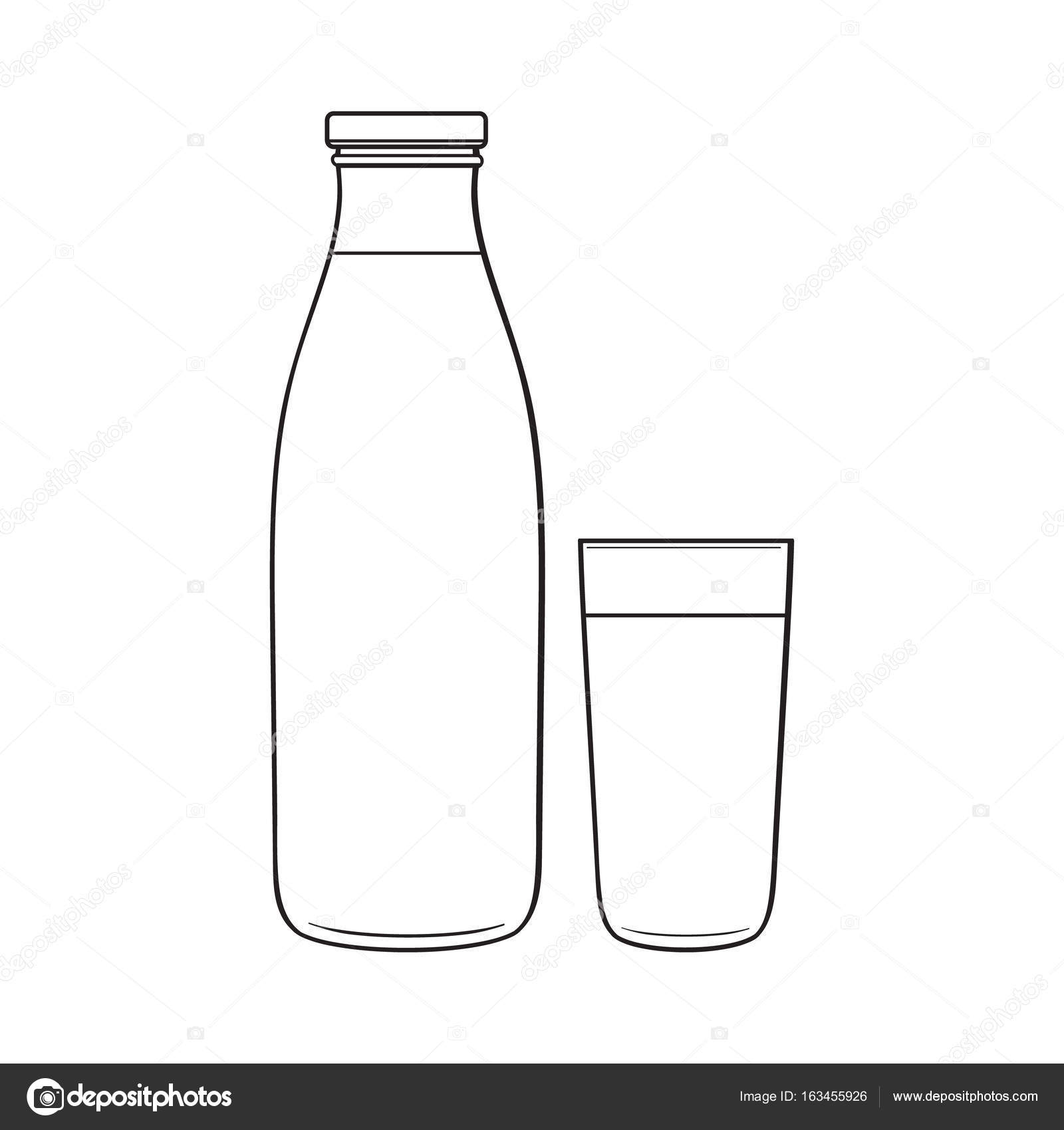 side view drawing of bottle and glass with liquid stock vector